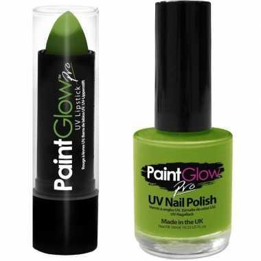 Neon groene uv lippenstift/lipstick nagellak schmink set carnavalskle