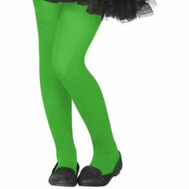 Neon groene verkleed panty kinderen carnavalskleding roosendaal