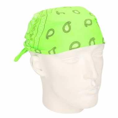 Carnavalskleding neon groene zakdoek bandana roosendaal