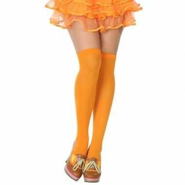 Neon oranje verkleed kousen dames carnavalskleding roosendaal