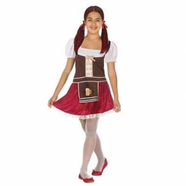 Oktoberfest tiroler verkleed jurk bruin/rood meisjes carnavalskleding