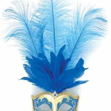 Carnavalskleding oog masker blauwe veren roosendaal