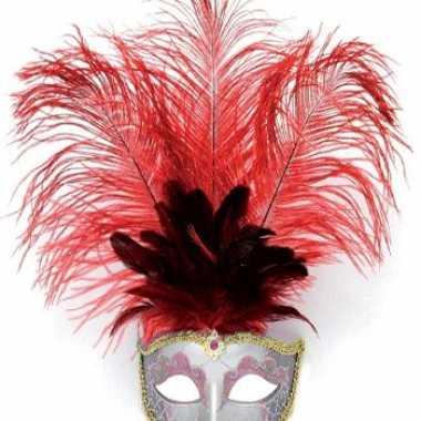 Carnavalskleding oog masker rode veren roosendaal