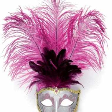 Carnavalskleding oog masker roze veren roosendaal