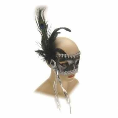 Oogmasker zilver kralen carnavalskleding roosendaal