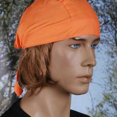 Carnavalskleding oranje kleurige bandana uni roosendaal