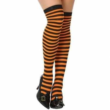 Oranje/zwarte gestreepte verkleed kousen dames carnavalskleding roose