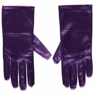 Paarse gala handschoenen kort satijn carnavalskleding roosendaal