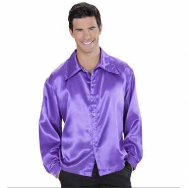Carnavalskleding paarse satijnen blouse roosendaal