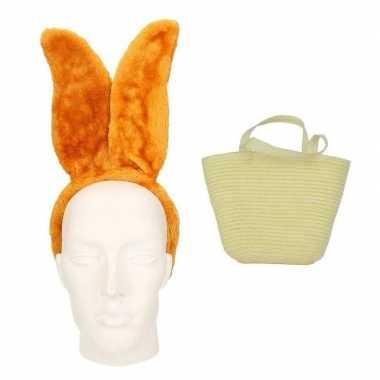 Paashaas accessoires set bruin volwassenen carnavalskleding roosendaa