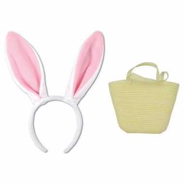 Paashaas accessoires set wit volwassenen carnavalskleding roosendaal
