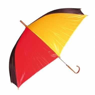 Paraplu rood/geel/zwart carnavalskleding roosendaal