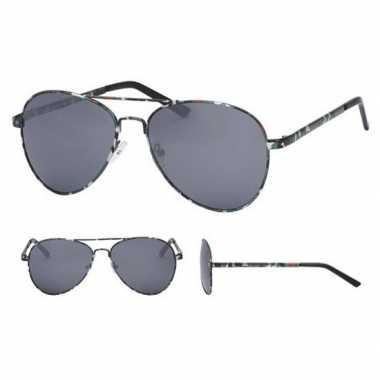 Pilotenbril legerprint zwarte glazen volwassenen carnavalskleding roo