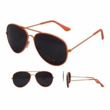 Pilotenbril neon oranje zwarte glazen volwassenen carnavalskleding ro