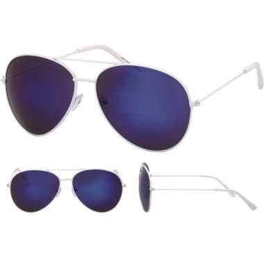 Pilotenbril wit blauwe glazen volwassenen carnavalskleding roosendaal