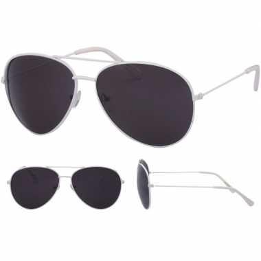 Pilotenbril wit zwarte glazen volwassenen carnavalskleding roosendaal