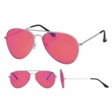 Pilotenbril zilver roze glazen volwassenen carnavalskleding roosendaa