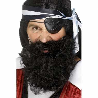 Piraten baard zwart gekruld carnavalskleding Roosendaal