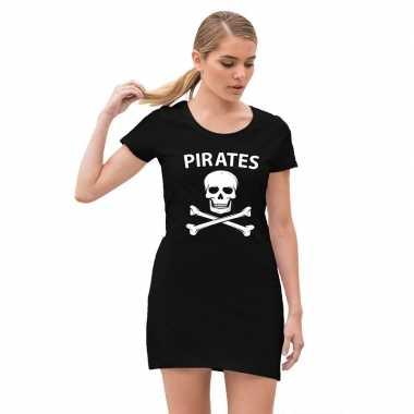 Piraten verkleed jurkje doodshoofd zwart dames carnavalskleding roose