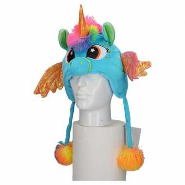 Pluche blauwe eenhoorn muts kinderen carnavalskleding roosendaal