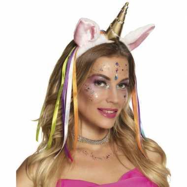 Pluche eenhoorn diadeem regenboog linten carnavalskleding roosendaal