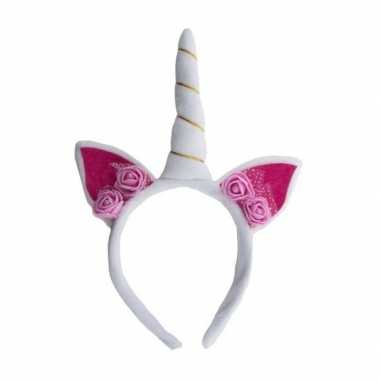 Pluche eenhoorn diadeem wit/roze carnavalskleding roosendaal