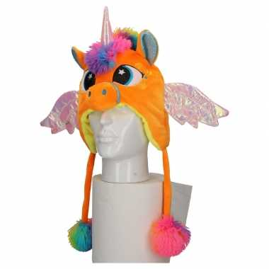 Pluche oranje eenhoorn muts kinderen carnavalskleding roosendaal