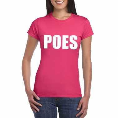 Poes tekst t shirt roze dames carnavalskleding roosendaal
