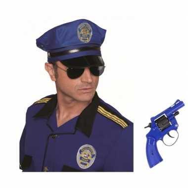 Politie accessoires verkleedset revolver pet carnavalskleding roosend