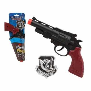 Politie speelgoed pistool/pistolen zwart carnavalskleding roosendaal