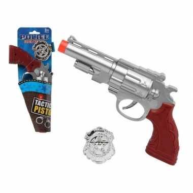 Politie speelgoed pistool zilver carnavalskleding roosendaal
