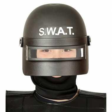 Politie swat verkleed helm vizier kinderen zwart carnavalskleding roo