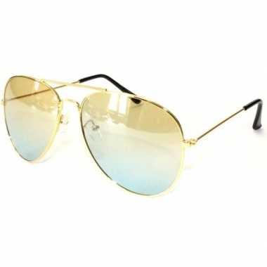 Politiebril goud gele glazen volwassenen carnavalskleding roosendaal