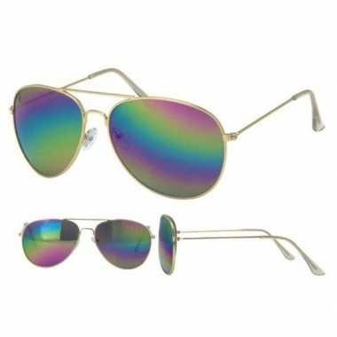 Politiebril goud olie/spiegel glazenvoor volwassenen carnavalskleding