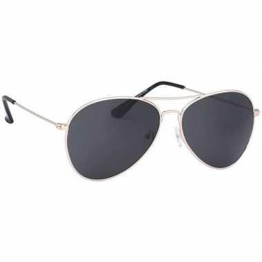 Politiebril lichtgoud donkere glazen volwassenen carnavalskleding roo