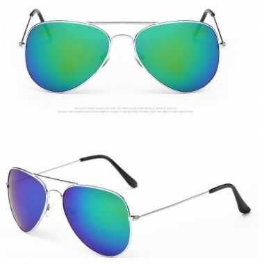 Politiebril zilver blauw/groene glazen volwassene carnavalskleding ro