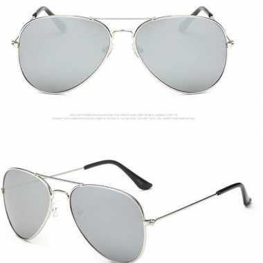 Politiebril zilver lichte glazen volwassenen carnavalskleding roosend