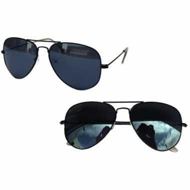 Politiebril zwart donkere glazen volwassenen carnavalskleding roosend