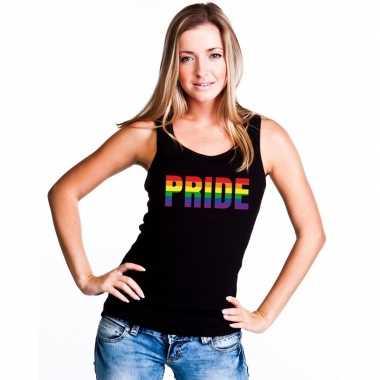 Pride regenboog tekst singlet shirt/ tanktop zwart dames carnavalskle