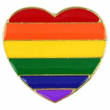 Regenboog pride hart metalen pin/broche carnavalskleding roosendaal