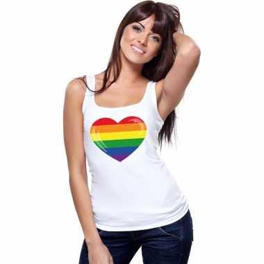 Regenboog vlag hart singlet shirt/ tanktop wit dames carnavalskleding