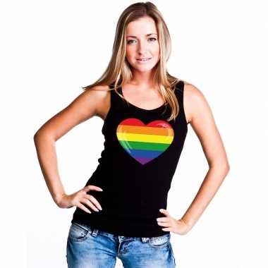 Regenboog vlag hart singlet shirt/ tanktop zwart dames carnavalskledi