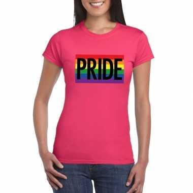 Regenboog vlag pride shirt roze dames carnavalskleding roosendaal