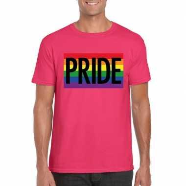 Regenboog vlag pride shirt roze heren carnavalskleding roosendaal
