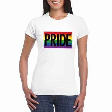 Regenboog vlag pride shirt wit dames carnavalskleding roosendaal