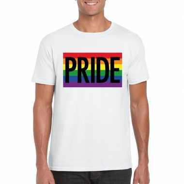 Regenboog vlag pride shirt wit heren carnavalskleding roosendaal