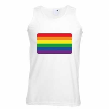 Regenboog vlag singlet shirt/ tanktop wit heren carnavalskleding roos