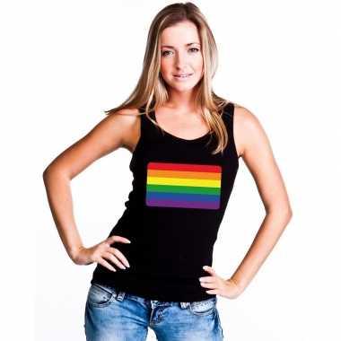 Regenboog vlag singlet shirt/ tanktop zwart dames carnavalskleding ro
