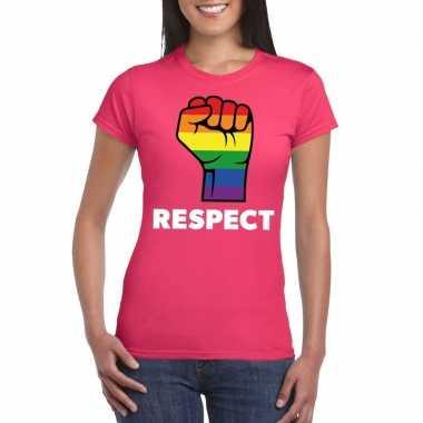 Respect lgbt shirt regenboog vuist roze dames carnavalskleding roosen
