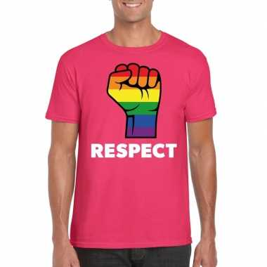 Respect lgbt shirt regenboog vuist roze heren carnavalskleding roosen